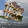 house depicted in a flood with water and reflection